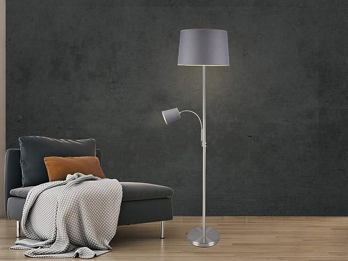 Moderna lámpara de pie con lámpara de lectura en plata mate con pantalla de tela de 40 cm de diámetro, en color gris: Amazon.es: Iluminación