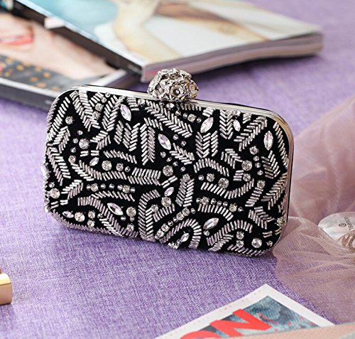 Bag Shimmer Handbag Womens Casual Bag Evening Wedding Clutch Black Evening Corduroy for Prom Personality Beaded gTq1wxwp0
