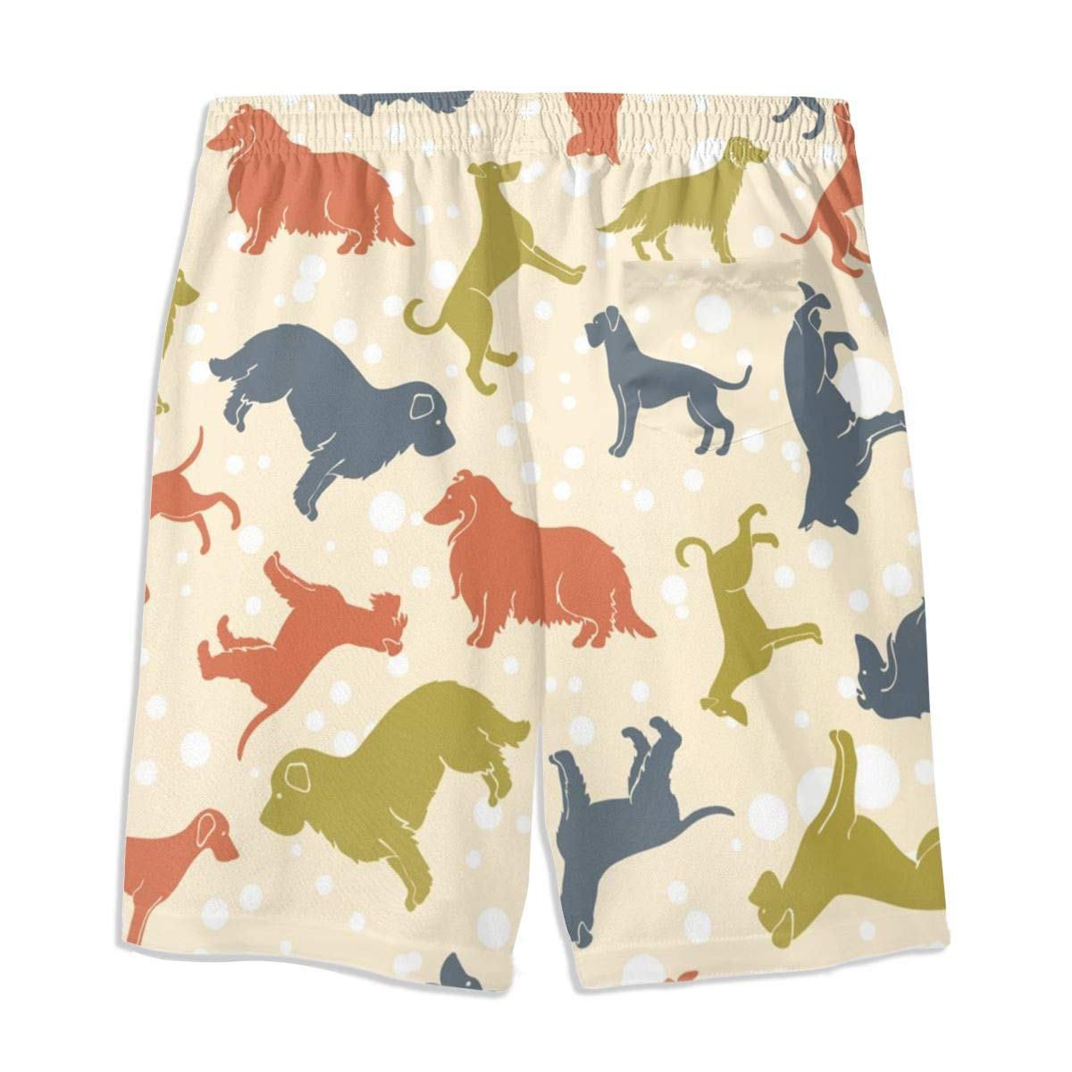 Mens Swim Trunks Boxer Dogs Printed Beach Board Shorts with Pockets Cool Novelty Bathing Suits for Teen Boys