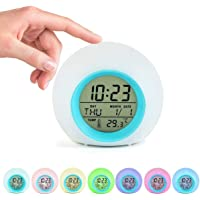 Kids Alarm Clock, Digital Wake Up Clock with 7 Colors Changing Light & 6 Optional Alarm Nature Sounds, with Temperature…