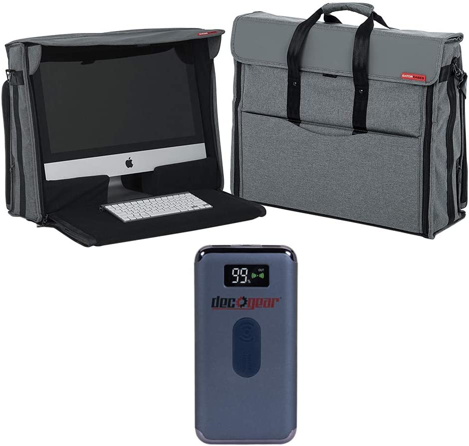 Gator G-CPR-IM27 Creative Pro Series Nylon Carry Tote Bag for Apple 27 inch iMac Desktop Computer Bundle with Deco Gear Power Bank 8000 mAh Digital Display with Wireless Device Charging
