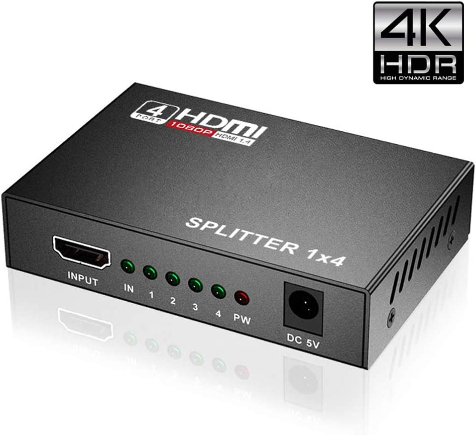HDMI Splitter 1 in 4 Out, 1x4 HDMI Splitter Supports 3D 4K x 2K @30HZ Full HD 1080P, Support Four TVs or Multi Monitor Adapter at Same Time (Black)
