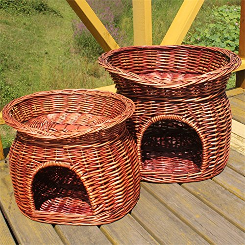 Vedem Handmade Two Tier Wicker Pet Cave Bed Condo Cat Nap Bed (L, Brown) ()