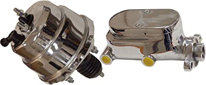 """8/"""" Street Rod Single Power Brake Booster W// Smooth Top Master Cylinder Chrome"""
