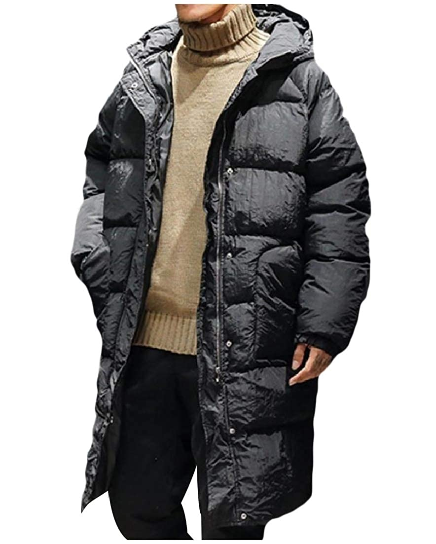 AngelSpace Men Winter Padded Zip Casual Puffer Quilted Hoodie Outdoor Coat