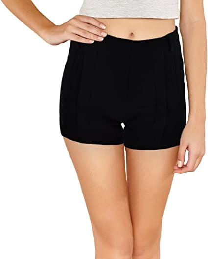 F9337 Pantalones Cortos Para Mujer Modelo Nice Hechos De Tela Elastica Y Suave Negro S M Amazon Es Ropa Y Accesorios