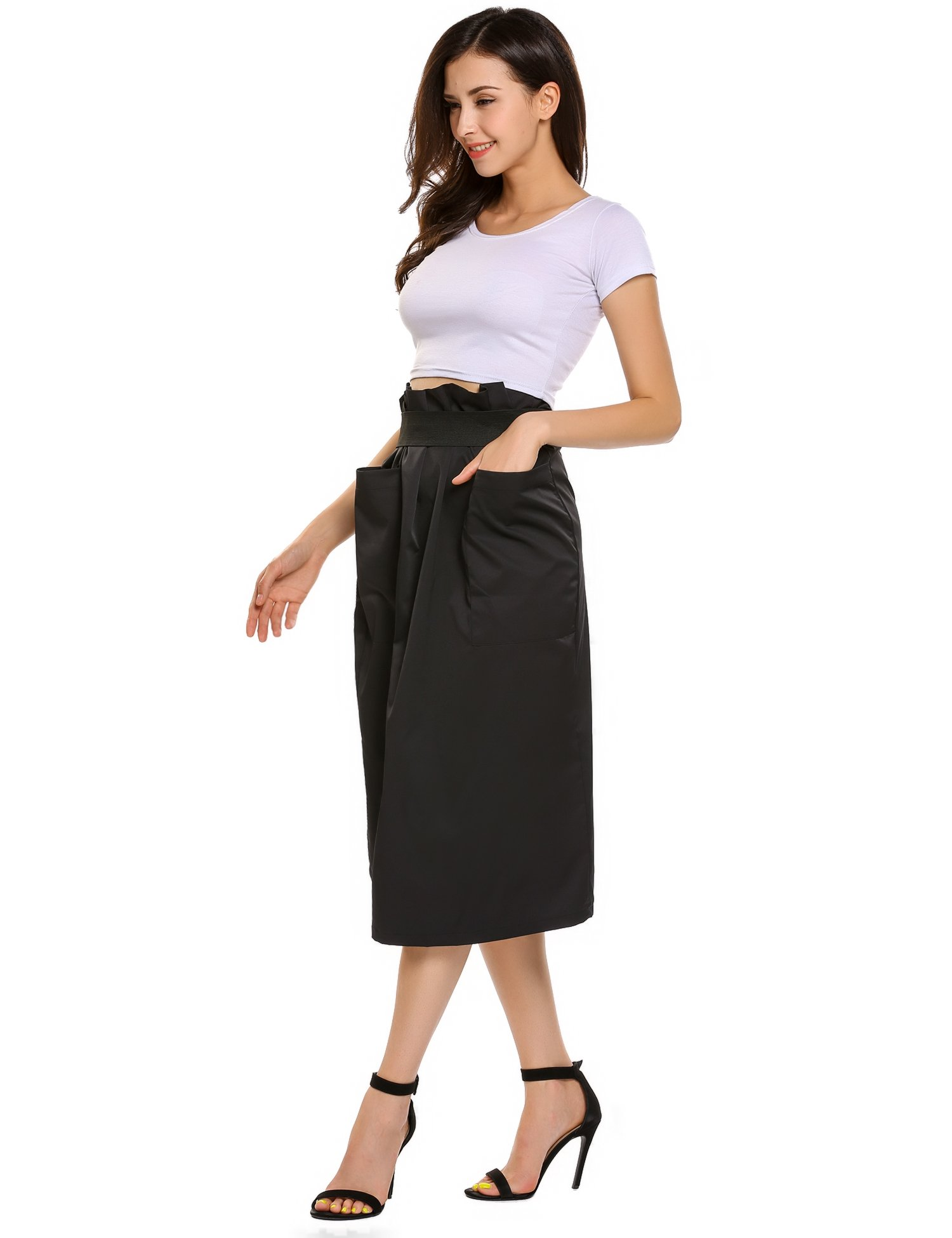 Women Casual High Waisted African A Line Maxi Long Skirt Black Small by Zeagoo (Image #3)