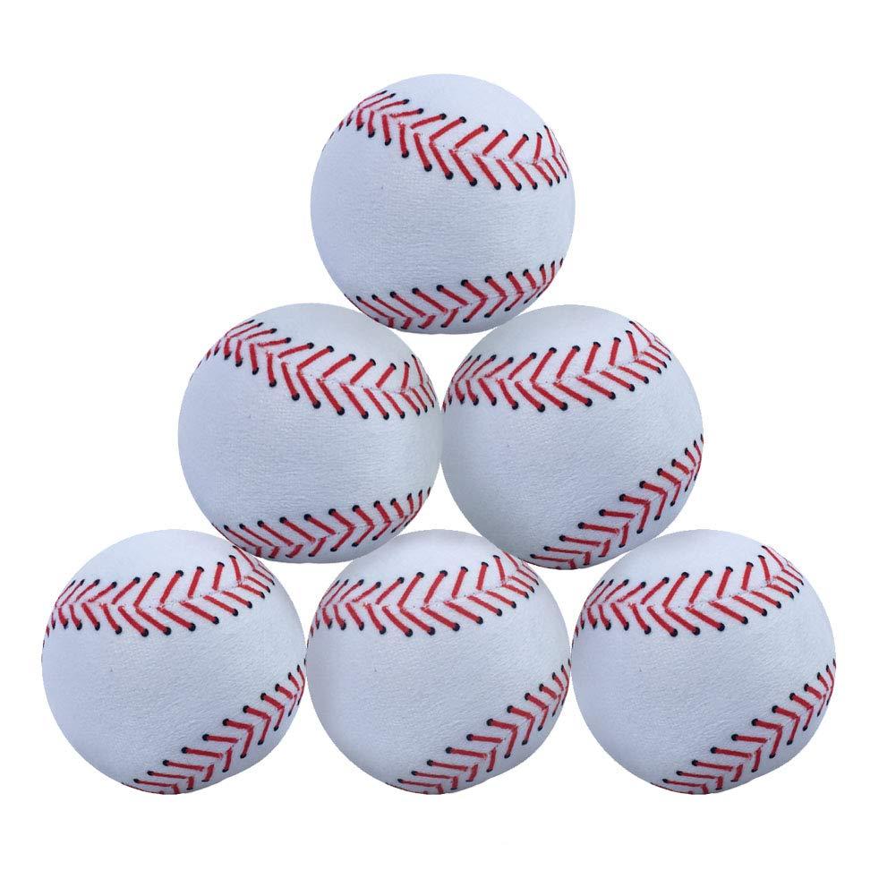 WOWMAX Toy 野球用ぬいぐるみ ふわふわ スポーツボール 柔らか 丈夫 スポーツおもちゃ ギフト 子供用 3インチ ホワイト 6個セット   B07JQQZC3K