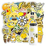 Laptop Stickers 48Pcs for Water Bottle Laptop Skateboard Luggage Waterproof Fade-resistant and No Residue Cute Vinyl Stickers for Kids and Adults Yellow
