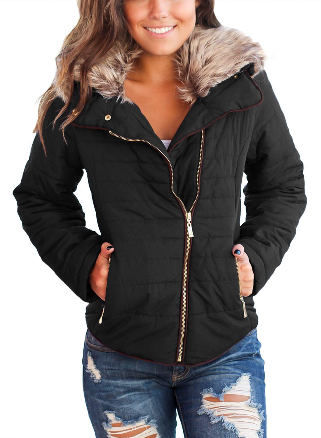 Vetinee Women Casual Faux Fur Lapel Zip Pockets Quilted Parka Jacket Puffer Coat Black Medium (Fits US 8-US 10) by Vetinee