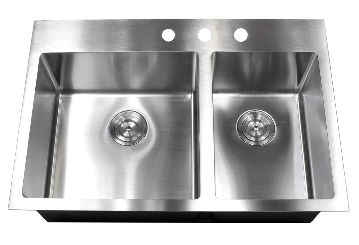 33 Inch Drop In Topmount Stainless Steel Kitchen Sink Package 16 Gauge  Double 60/40 Bowl Basin W/ 9 Gauge Deck   Complete Sink Pack     Amazon.com