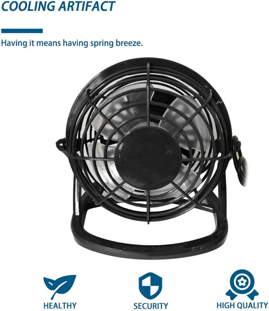 4-Inch Mini Portable USB Plastic Fan Handheld Desk Cooling Fan 4 Blades Round Home Office Computer Fan Business Gift