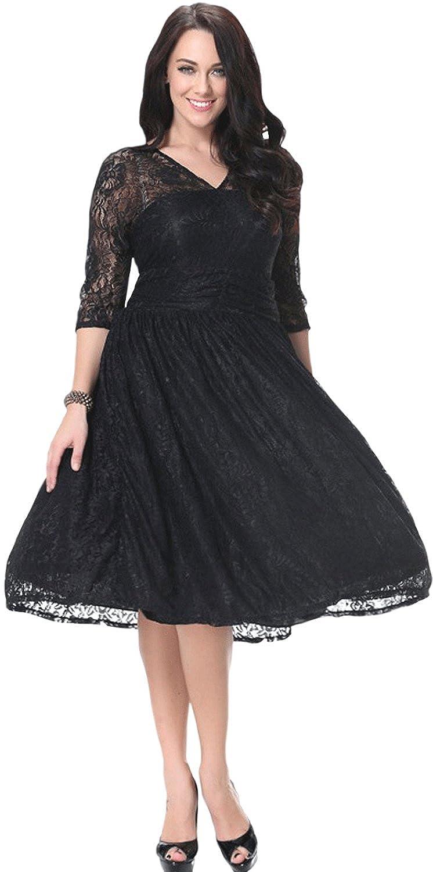 bbb20b0ea2b Amazon.com  Zumeet Women Sheer Lace Sleeves V-Neck Skater Plus Size Lace Dress  Black  Clothing