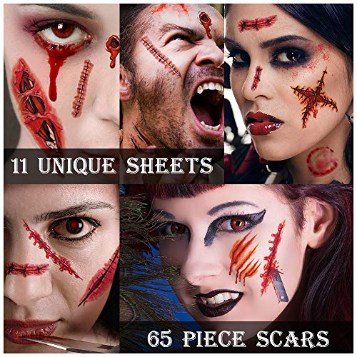 Zombie Makeup,Halloween Makeup,11 Unique Sheets,Fake Blood ,Scar Tattoo,Halloween Tattoos Fake Blood Makeup Vampire Makeup, Enjoy Halloween Makeup Kit Zombie Tattoos,11 Sheets,65 Pics Fake Scars