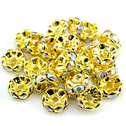 RUBYCA 100pcs Wavy Rondelle Spacer Bead Gold Tone 10mm AB White Czech Crystal