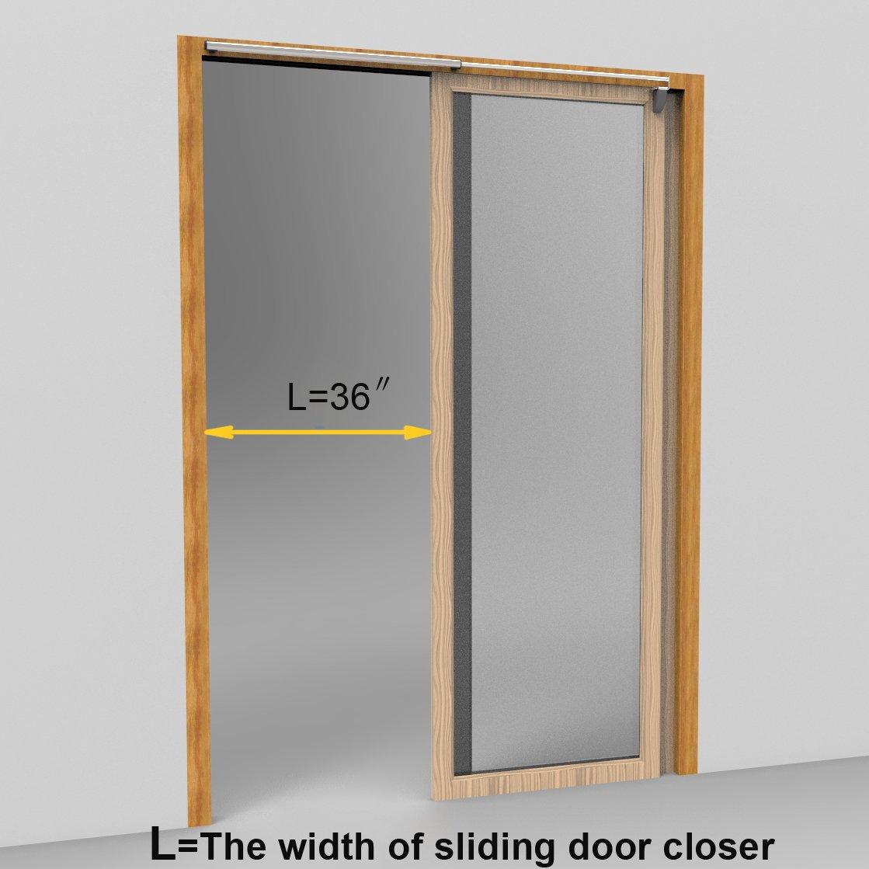 Dazzplus Semi Automatic Sliding Door Closer Silver 36 Inch Al