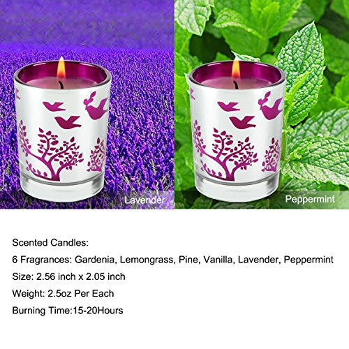 Scented Candles Pack 6 Aromatherapy Set of Fragrance Soy Candles, Gardenia, Lemongrass, Pine, Vanilla, Lavender, Peppermint Soy Candle Wax for Stress Relief, Christmas Gift by Humbgo (Image #3)