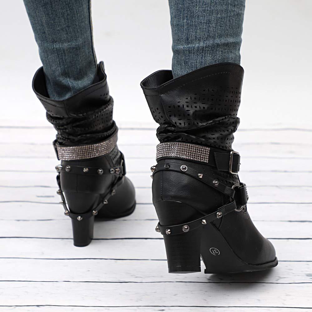 SuperSU Frauen Herbst Winter Aushöhlen Stiefeletten Damen Halb Stiefel Niet Kurzschaft Boots mit Absatz Blockabsatz Frauen High Heels Ankle Boots