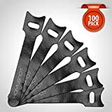 HomeSpot Cable Management 100 Pack Reusable Fastening Cable Ties Cable Strap Microfiber - 4'' (10cm)