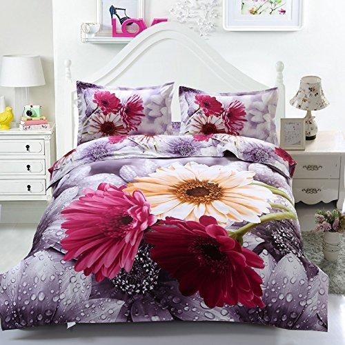 Suncloris,3d Rain Flowers,Queen Size,4pc Bedding Sheet Sets,1 Duvet Cover,1 Flat Sheet,2 Pillowcase(no Comforter inside)