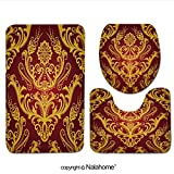 3 Piece Bath Rug Set Nalahome design-54623680 Luxury red & gold floral damask wall Bathroom Rug(19.29''x31.1'')/large Contour Mat(15.35''x19.29'')/Lid Cover(13.58''x17.51'') For Bathroom(red )