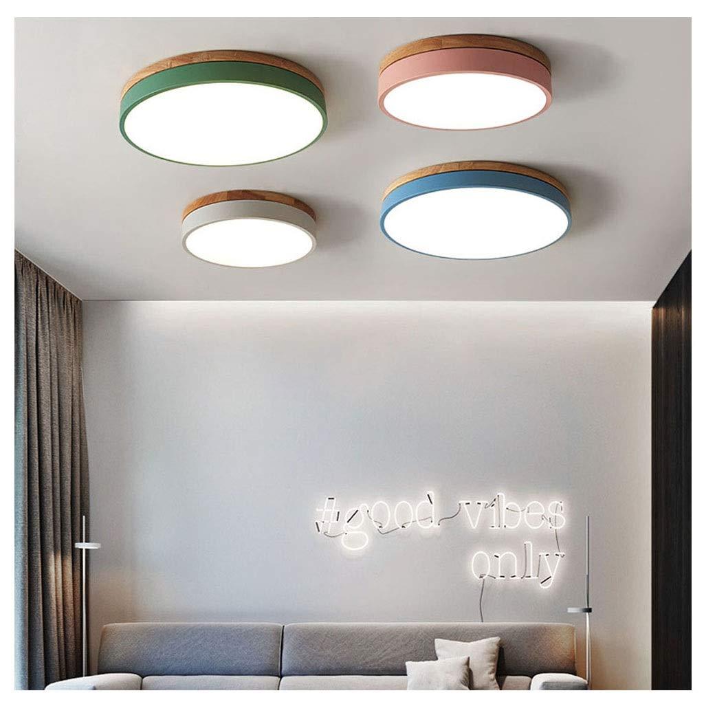 Nordischen Stil Led Runde Deckenleuchte, Kreative Wohnzimmer Schlafzimmer Hause Mode Persönlichkeit Lampe Macaron (Farbe   weißes Licht-Blau 40  5cm-24w)