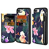 iPhone 8 Plus Zipper Wallet Case, LAMEEKU iPhone 7 Plus Leather Case with Conifer Colorful Floral Design, Credit Card Holder Slots with Zipper Wallet Shockproof Cover for Apple iPhone 7 Plus/8 Plus