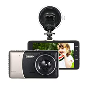 QUARKJK 4 Inch Double Recording HD Driving Recorder IPS Display Large Lens Lighting