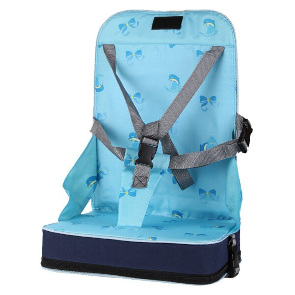 TOOGOO Blue portable folding dining chair seat 30 * 25 * 8cm (11.8 x 9.8 x 3.1 inches) Baby Travel Booster Luggage Folding Seat Highchair Portable Safety Harness (Blue)