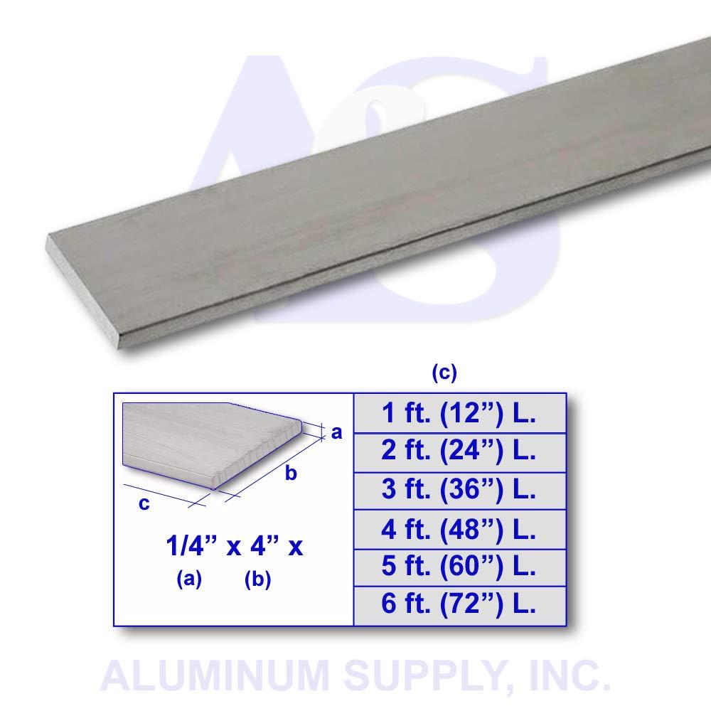 """1/"""" x 4/'/' Aluminum 6061 Flat Bar 24/"""" length"""