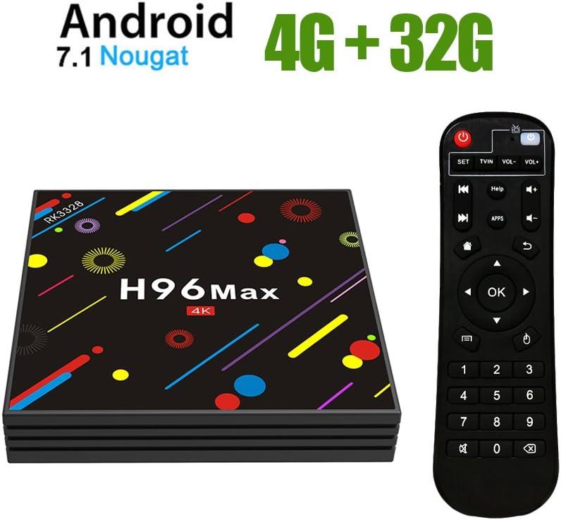 TV Box Android 7.1 - H96 MAX Smart TV Box RK3328 Quad Core 64Bit,4GB RAM & 32GB ROM Android Box/WiFi 2.4GHz/5GHz/BT 4.0/Full HD/H.265/4K/LAN 100M: Amazon.es: Electrónica