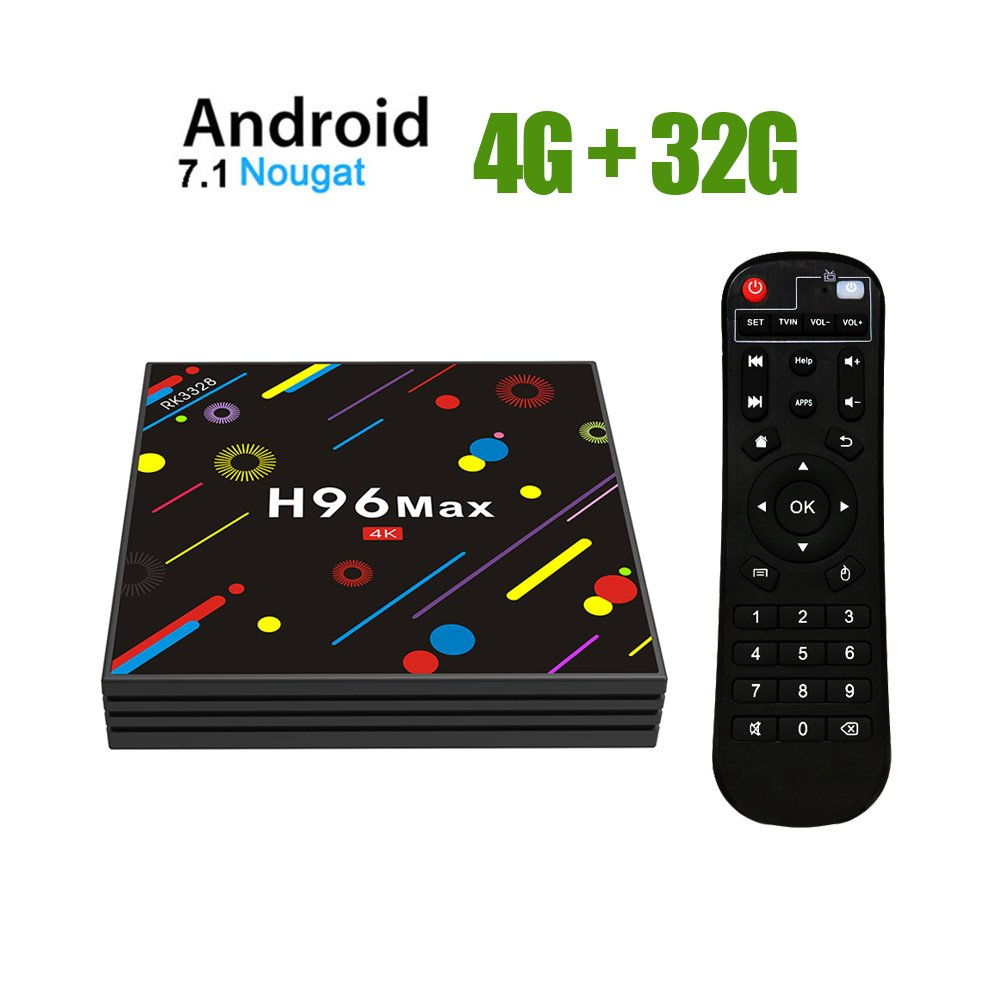 TV Box Android 7.1 - H96 MAX Smart TV Box RK3328 Quad Core 64Bit, 4GB RAM & 32GB ROM Smart TV Box/WiFi 2.4GHz/5GHz/BT 4.0/Full HD/H.265/4K/LAN 100M ESTGOUK