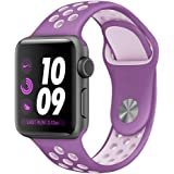 Desertwest Apple Watch バンド アップルウォッチ バンド 38mm ベルト 柔らかシリコンNike+/Apple Watch Series 3/Apple Watch Series 2/Apple Watch Series 1対応 スポーツ 交換バンド(38mm, 紫+ピンク)