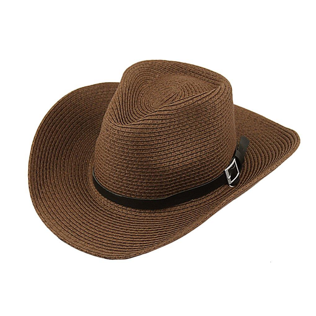 JIAHG Men Cowboy Sun Hat Foldable Straw Hat Classic Western Newsboy Cap Summer Wide Brim Roll Up Raffia Cowboy Hat Fedora Hat with String Sun Visor Beach/Sunshade Bucket Outdoor Fishing Safari Hat