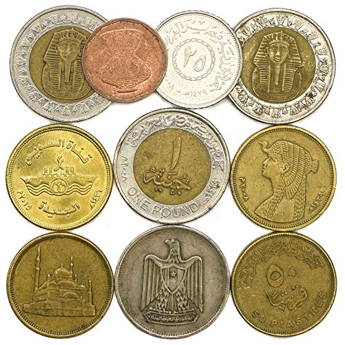 (10 Old Coins from Arab Republic of Egypt. Collectible Coins Egyptian piastres, Pound. Perfect Choice for Your Coin Bank, Coin Holders and Coin Album)