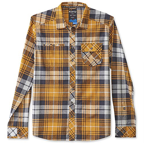 KAVU Men's Douglas Button Down Shirt, Amber, X-Large (Flannel Oz Shirt 5)
