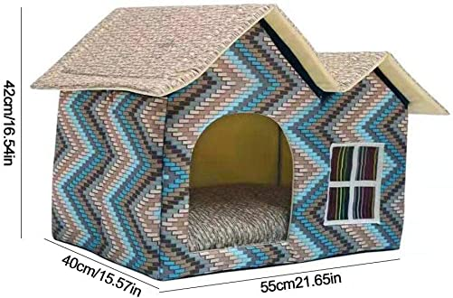 systematiw Outdoor Kitty House, Insulated Cat Shelter,Outdoor Dog House with Door,Water Resistant Attractive for Small to Large Sized Dogs – Easy to Assemble – Perfect for Backyards