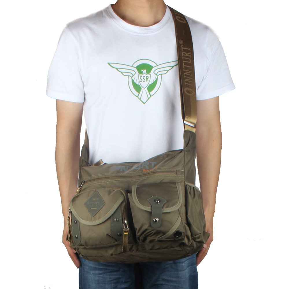 Innturt Nylon Messenger Bag Shoulder Sling Bag Army Green by Innturt (Image #5)