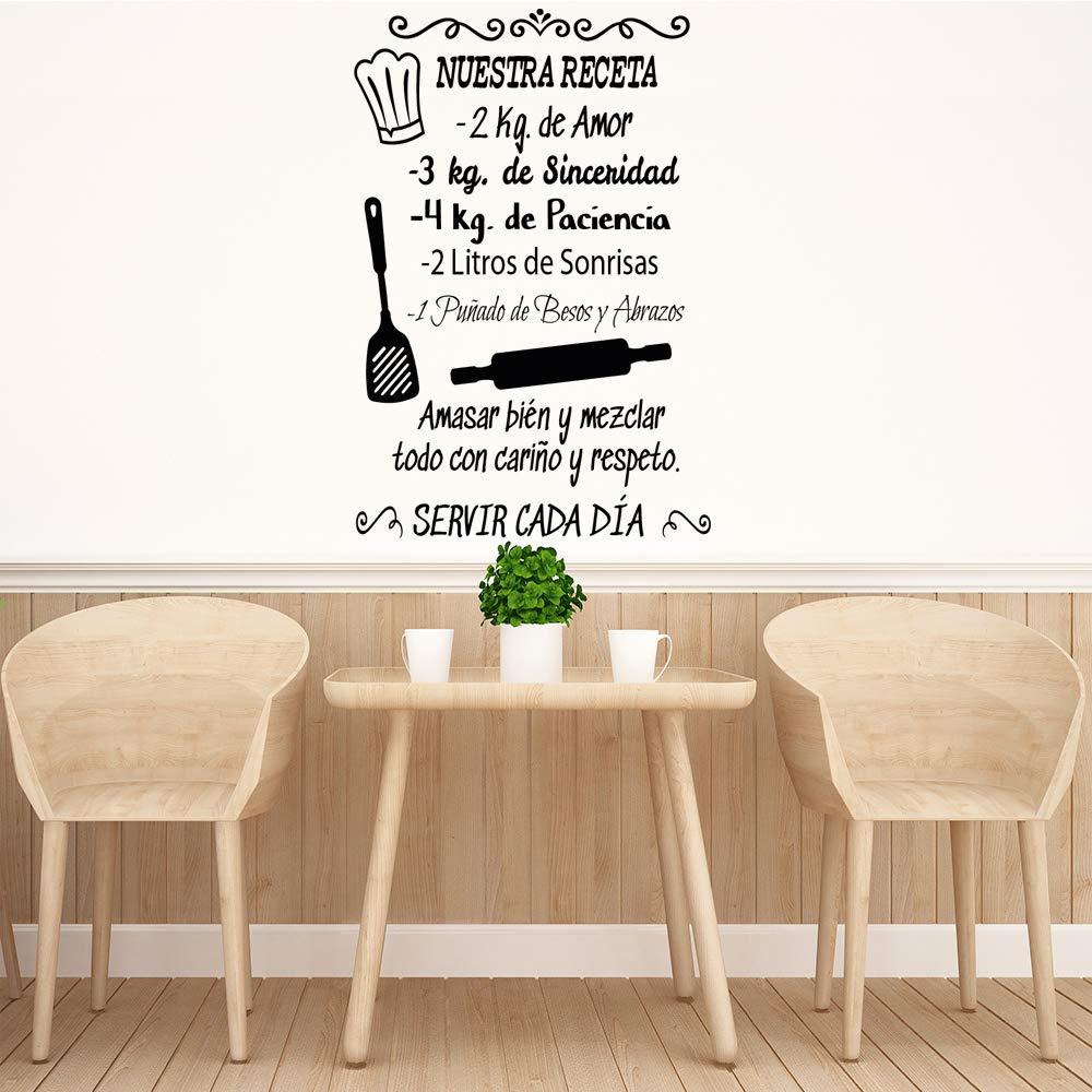 Vinilos decorativos Docliick DC-18035 Docliick/® Frase Vinilo para cocina o restauranteNUESTRA RECETA Vinilo de corte, 90x60cm