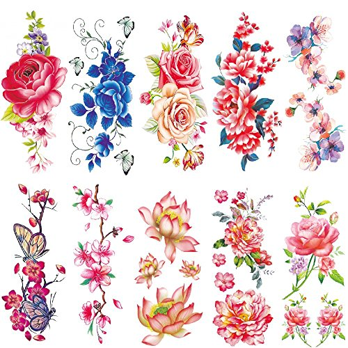 Temporary Tattoos Arm Body ,Chest ,Back Tattoo Sticker for Men and Women Colorful Flower Temporary Tattoo Pack Potpourri 10 Sheets (Halloween Zombie Makeup For Guys)