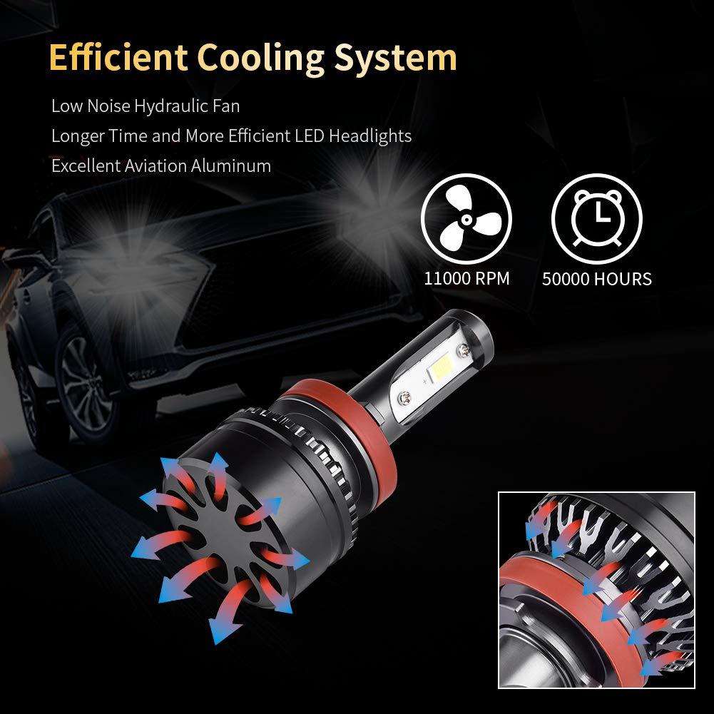 10000LM Feux Avants Auto Ampoule LED,Auto Kit de Conversion Ampoules pour Voiture 6000K Blanc IP65 Etanche 2 Ampoules WZTO H4//9003 LED Phare Ampoules Voiture
