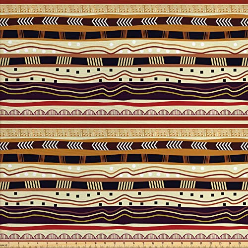 Ambesonne Tribal Fabric by The Yard, Arrows Triangles Dots and Curved Lines Motifs of African Continent Oriental Design, Decorative Fabric for Upholstery and Home Accents, 2 Yards, -