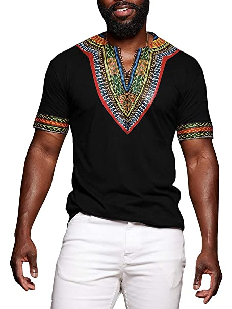 80c231e05416d Amazon.com: Mens African Shirts Printed Dashiki V Neck Tees Short Sleeve  Ethnic Summer Tops Workout Tribal T Shirts: Clothing