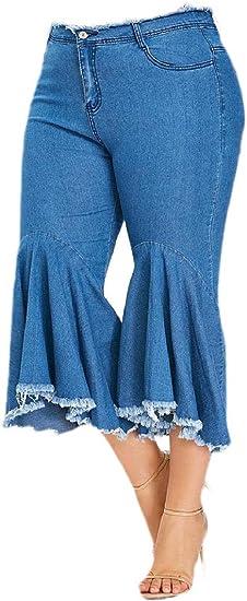 VITryst Women's Highwaist Casual Washed Carpi Pants Frayed Raw Hem Denim Pants