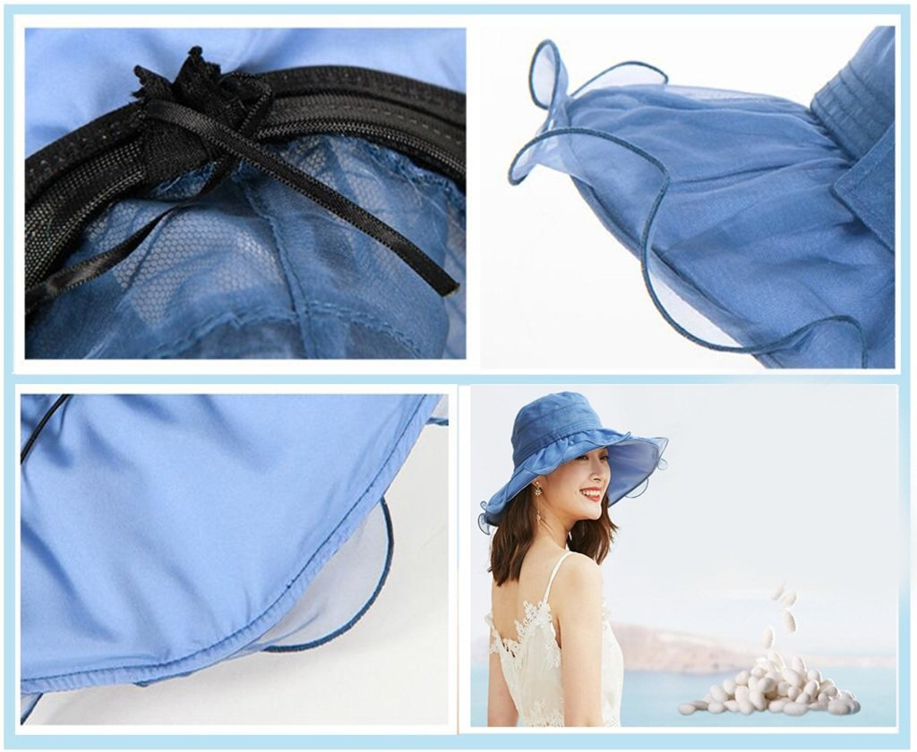 Sombrero Sombrero Sombrero de Seda Hembra Verano protección UV Parasol de Seda Verano Sombrero de Sol Vacaciones Playa Sombrero de Playa (Color : B, Tamaño : Metro) 72fda1