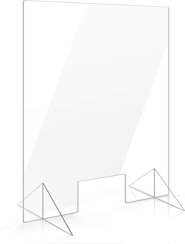 Spuckschutz Plexiglas Aufsteller 100cm x 75cm x 4mm mit Durchreiche Tischaufsatz Schutz gegen Infektion Gastronomie Kassentresen Einzelhandel Apotheke glasklar