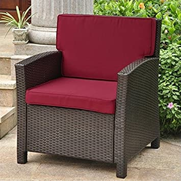 International Caravan Valencia Outdoor Patio Chair in Chocolate and Merlot