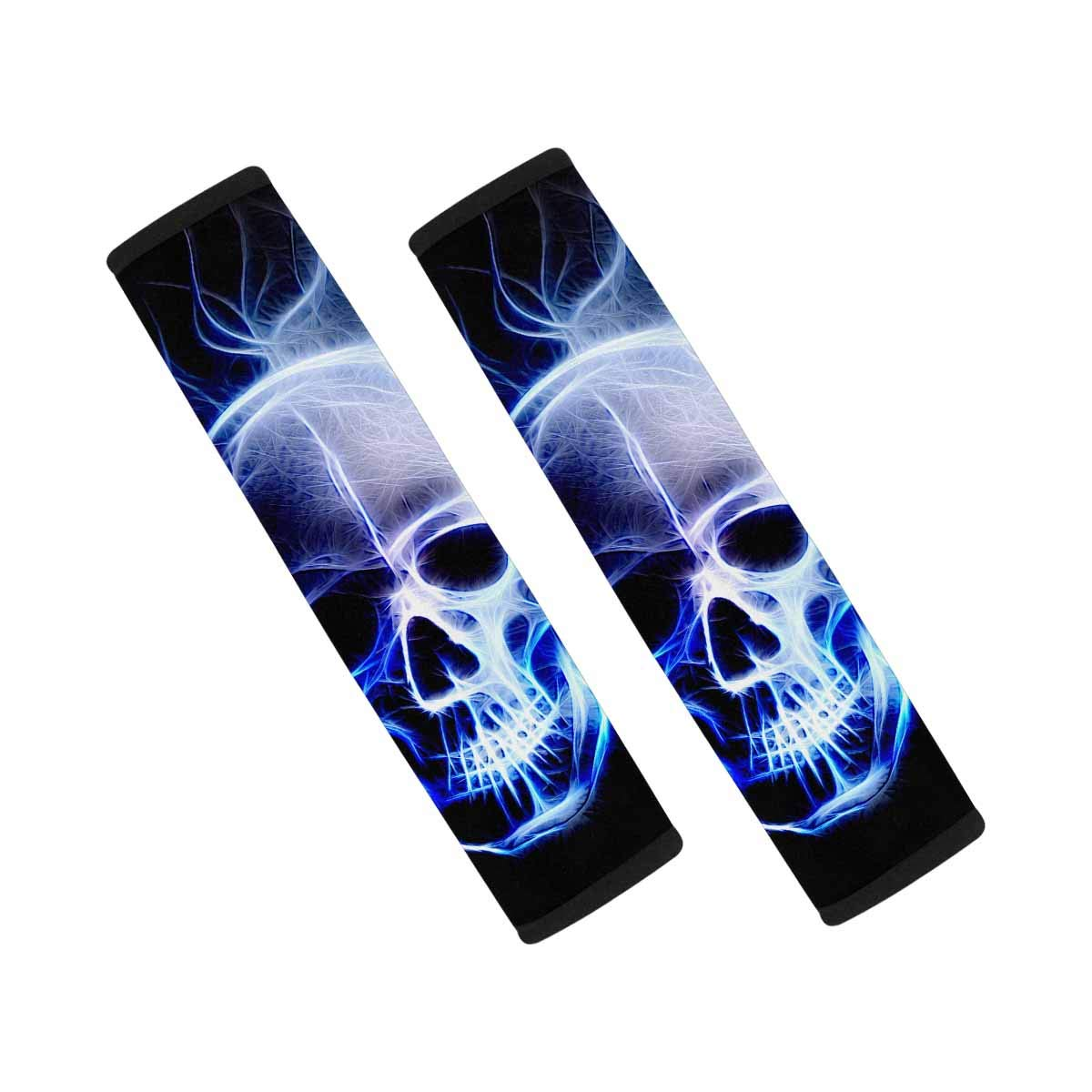 INTERESTPRINT Skull Black 2 Packs Seat Belt Shoulder Strap Covers Protector to Relieve Stress Neck and Shoulder by INTERESTPRINT