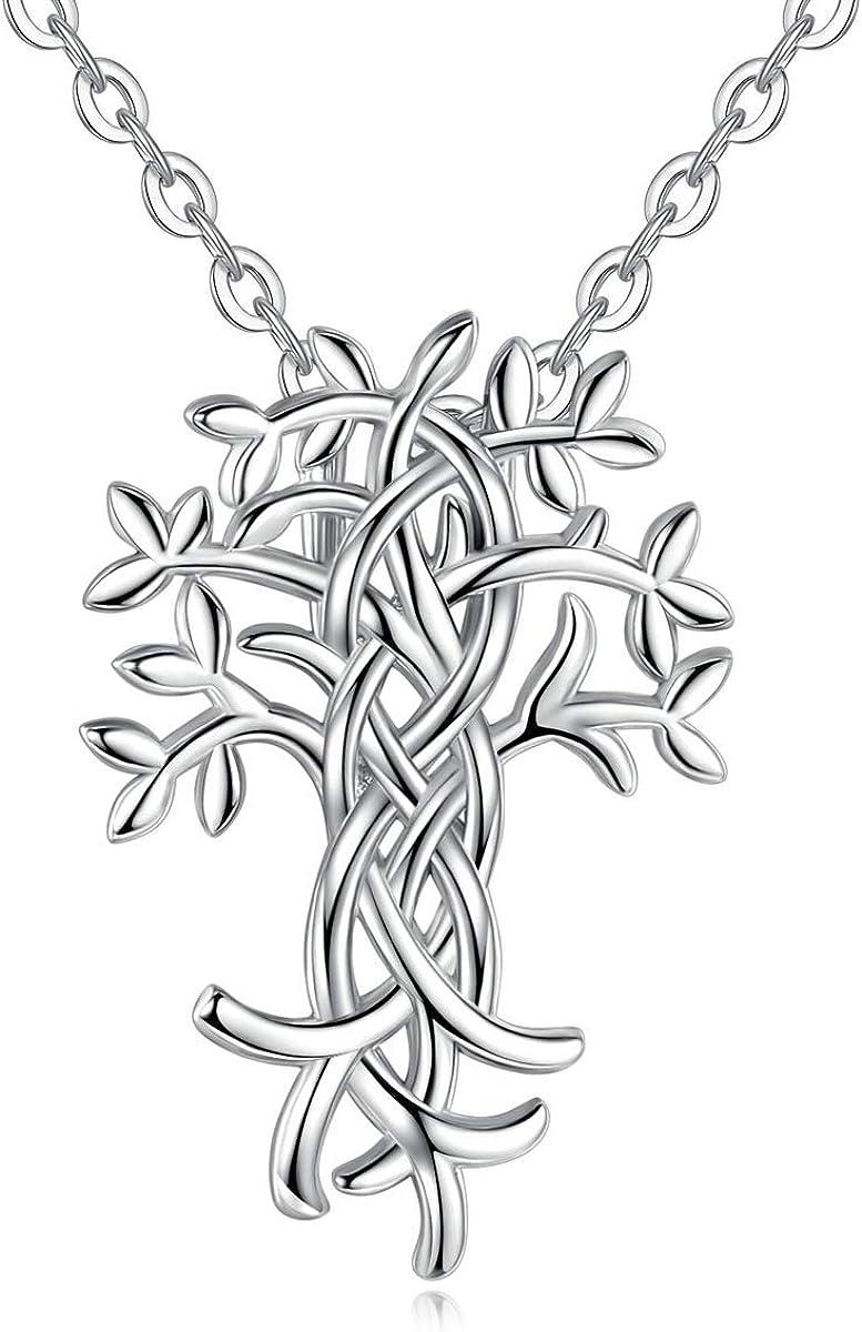 EUDORA Colgante Arbol de la Vida Plata para Mujer, Collares Mujer Arbol de la Vida Circonita Joyas de plata de ley 925 para Mujer, Cadena de 18 pulgadas