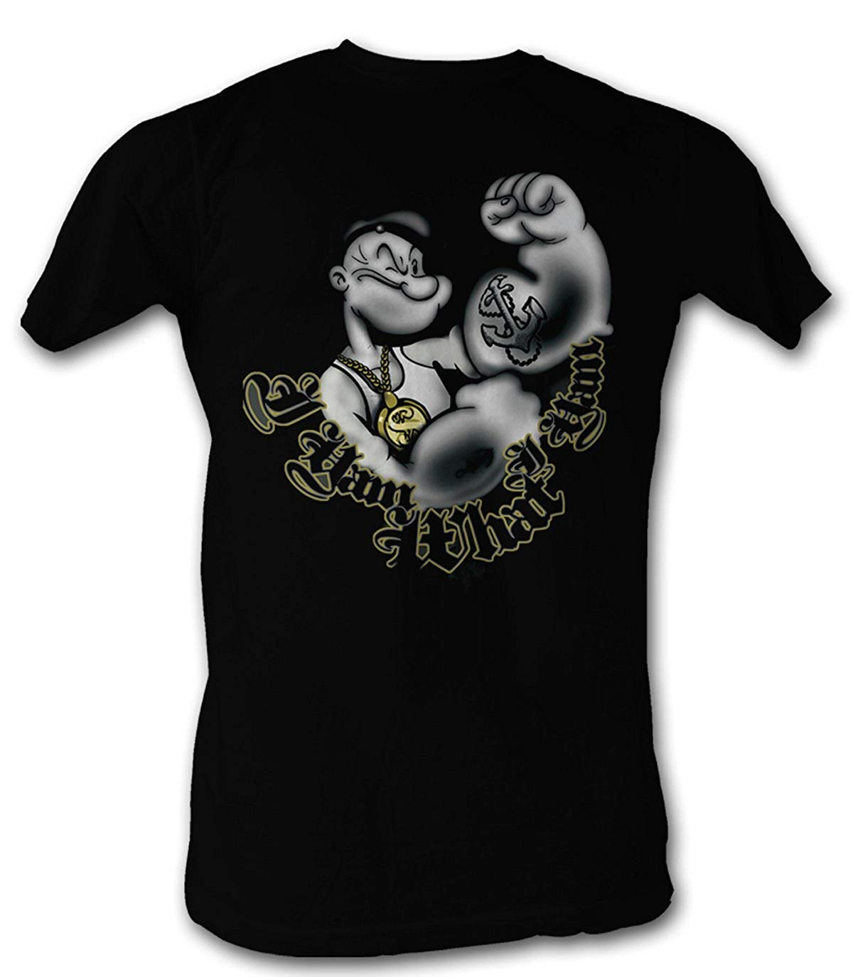 A E Designs Popeye T Shirt I Yam What I Yam Adult Black T